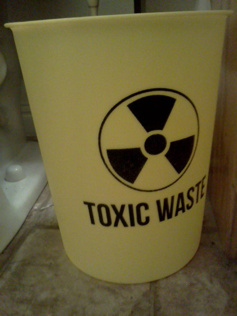 toxic waste trash can