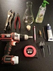 Materials needed to make an Erlenmeyer flask soap dispenser