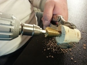 Drilling with a stepped drill it