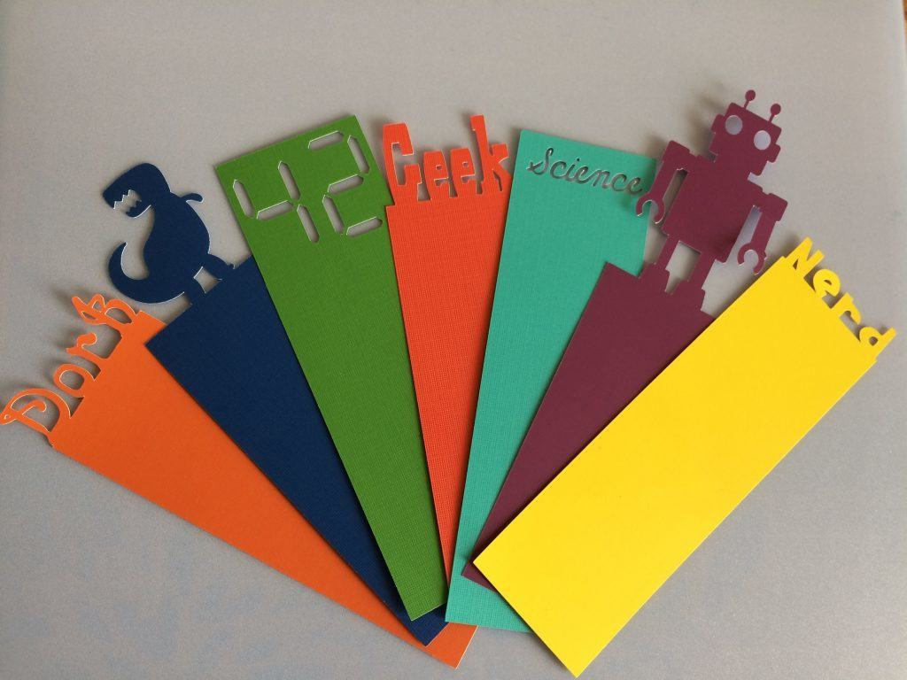 You can easily make colorful geeky bookmarks like these