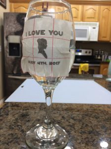 Putting the vinyl on the Star Wars wedding glasses