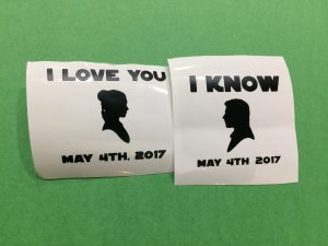Star Wars wedding glasses decals that have been weeded