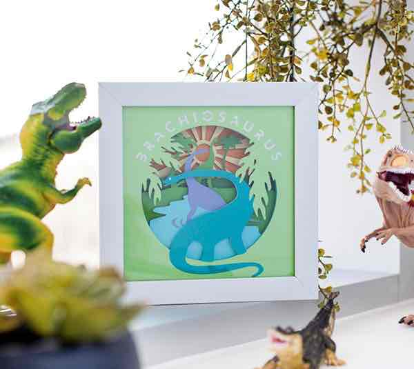 You can make a neat 3D Brachiosaurus Wall Art project with a Cricut