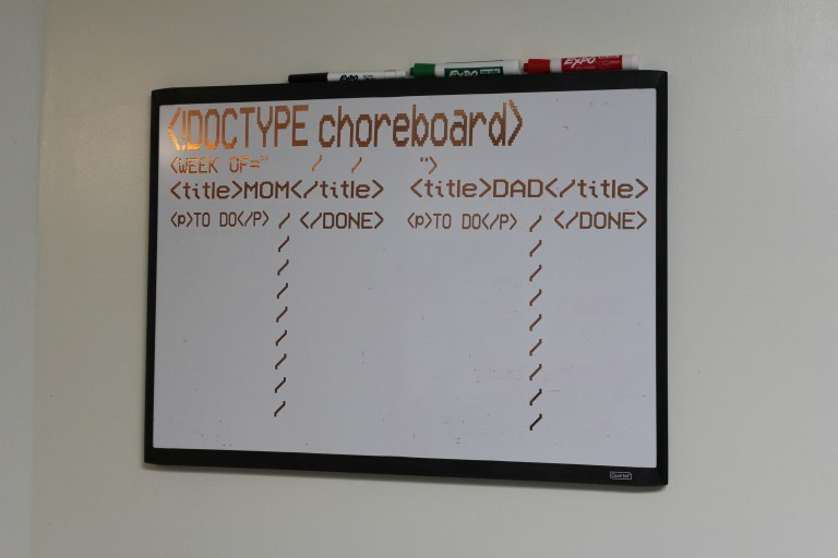 Geeky chore chart to keep you on track