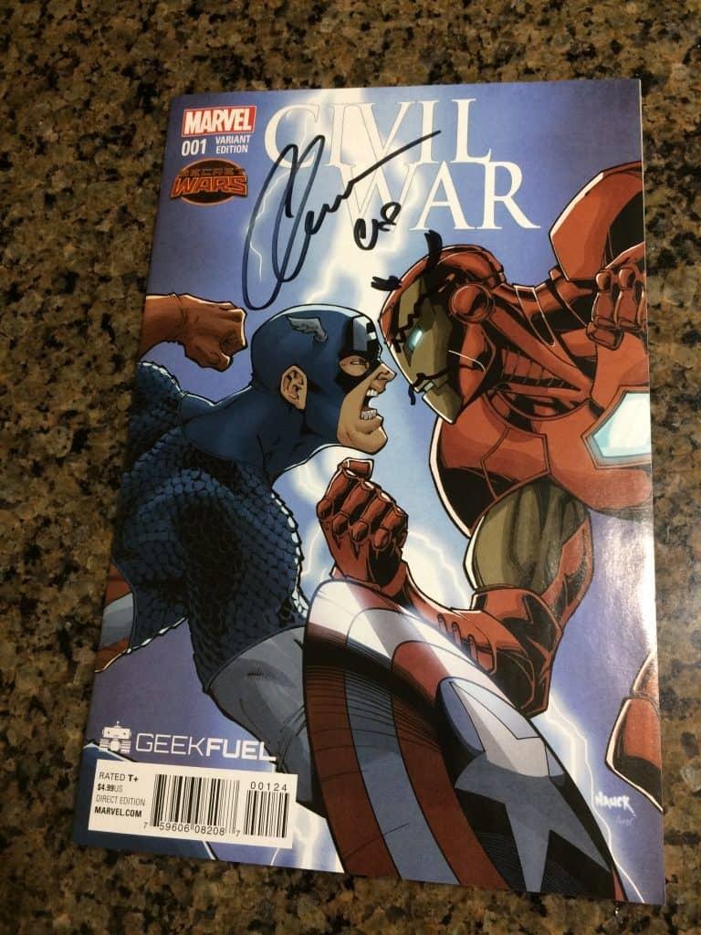Civil war comic with an autograph