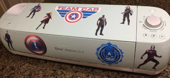 Finished Team Cap decals on a Cricut
