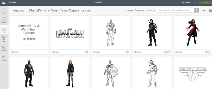 You can find Marvel Avengers images in Cricut Design Space