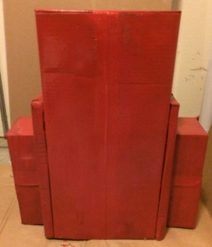 Spray paint the boxes red