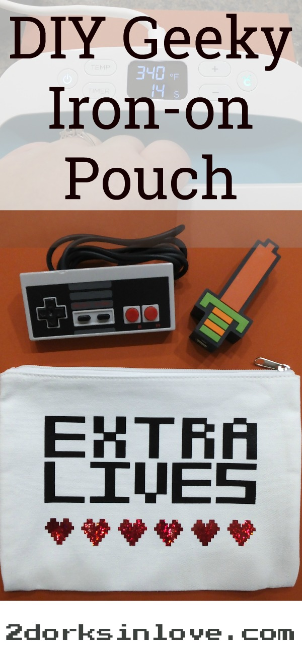 Make this easy 8-bit video game pouch using iron-on