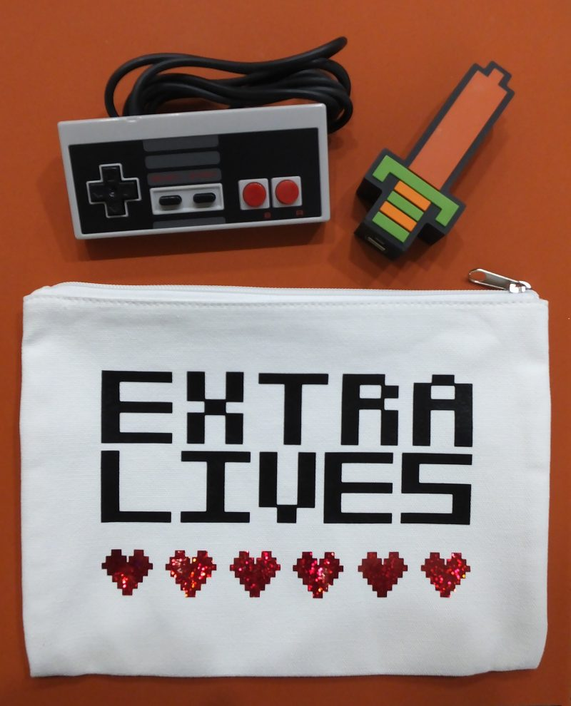 Make this fun Extra Lives pouch today using iron-on
