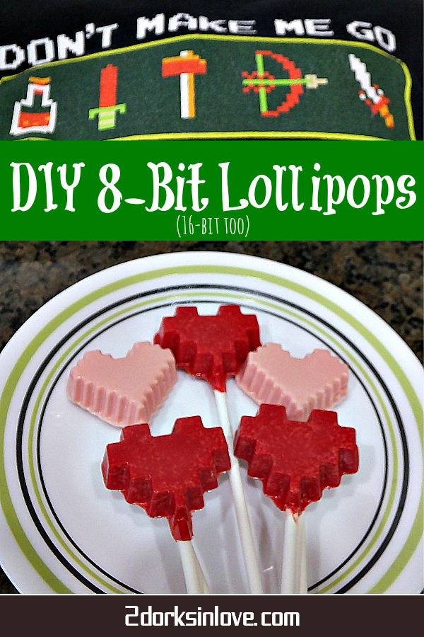 Make these fun 8-bit lollipops for a quick sweet treat. 16-bit size too!