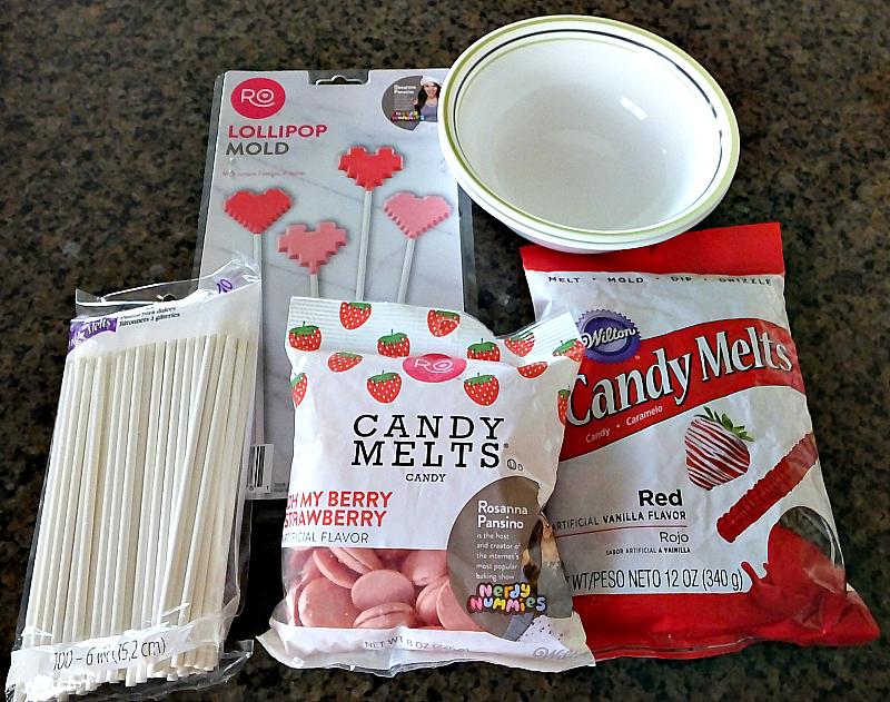 Supplies for creating 8-bit lollipops