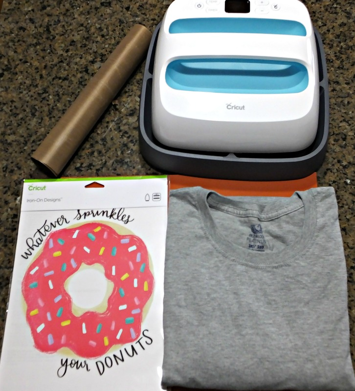 Supplies for using a Cricut Iron-on Design