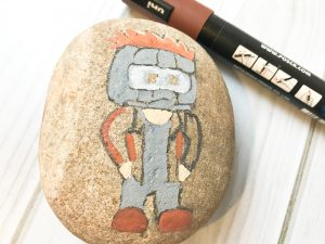 Use a peach pen to paint part of Star-Lord's hair